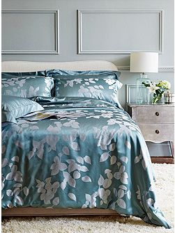 Gingerlily Leaves aqua silk cotton king pillowcase