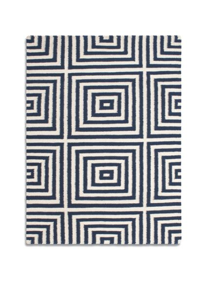 Plantation Rug Co. Frankie 100% Wool Flatweave Rug - 150x230 Navy