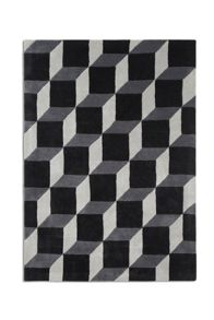 Geometric Black Wool Rug Range