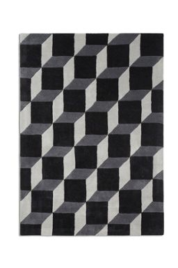 Plantation Rug Co. Geometric 100% Wool Rug Range - Black