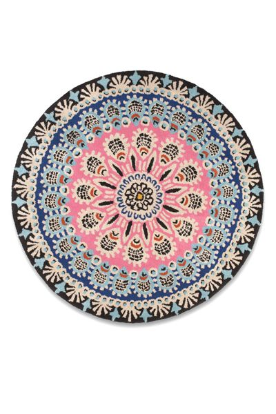 Plantation Rug Co. Nomadic 100% Wool Rug - 150cm Circle Pink/Black