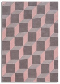 Plantation Rug Co. Geometric 100% Wool Rug Range- Pink/Grey