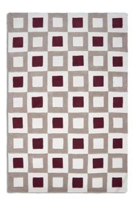 Cubed Rug in Wine/Beige