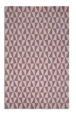 Plantation Rug Co. Geometric 100% Wool Rug Range Pink/Grey