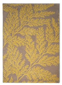 Plantation Rug Co. Leaf 100% Wool Rug Range - Yellow/Grey