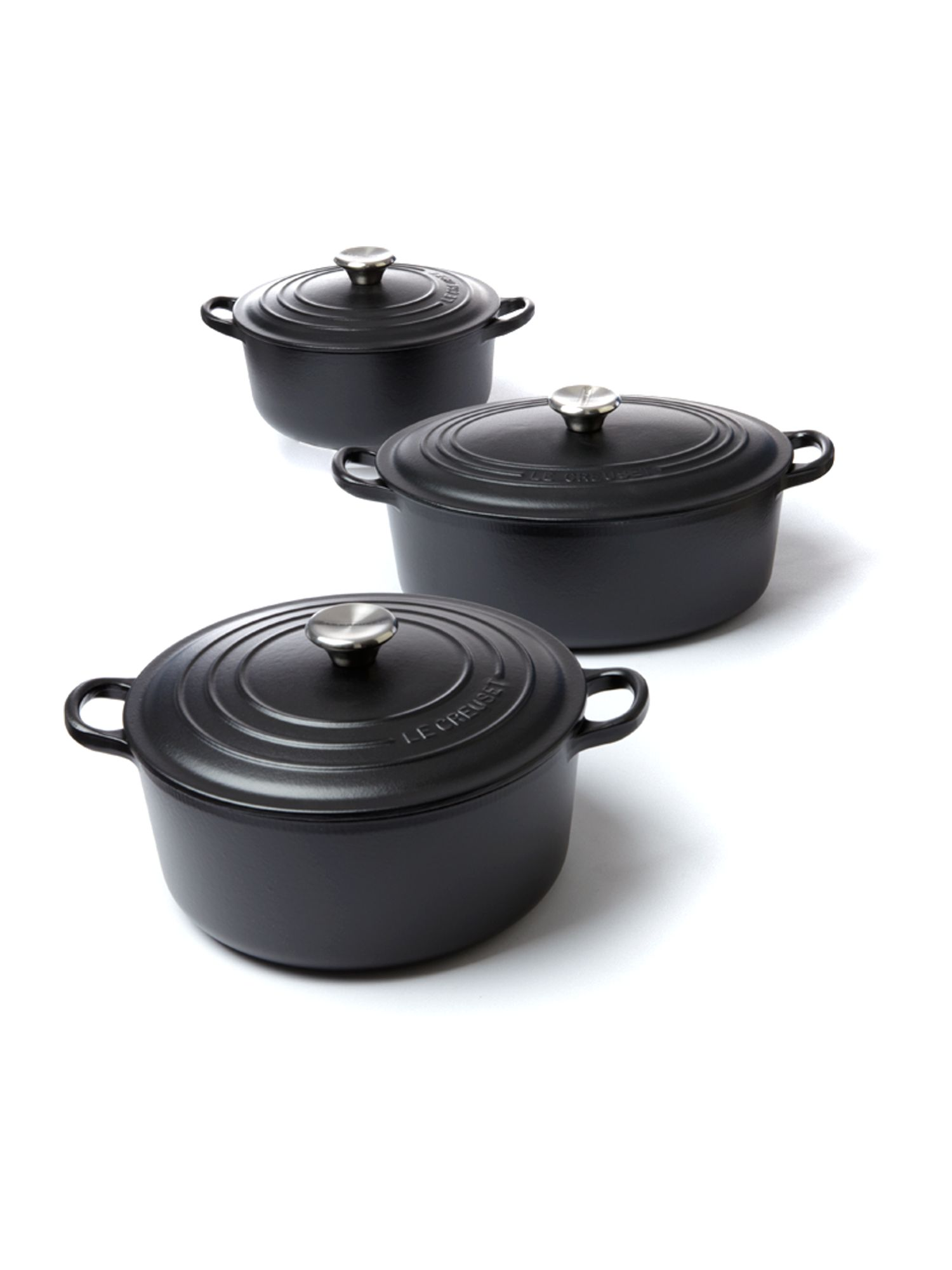 Cast iron cookware in black satin
