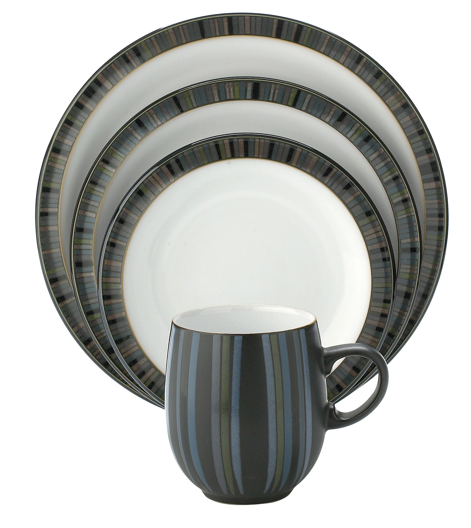 Jet Stripes stoneware dinnerware