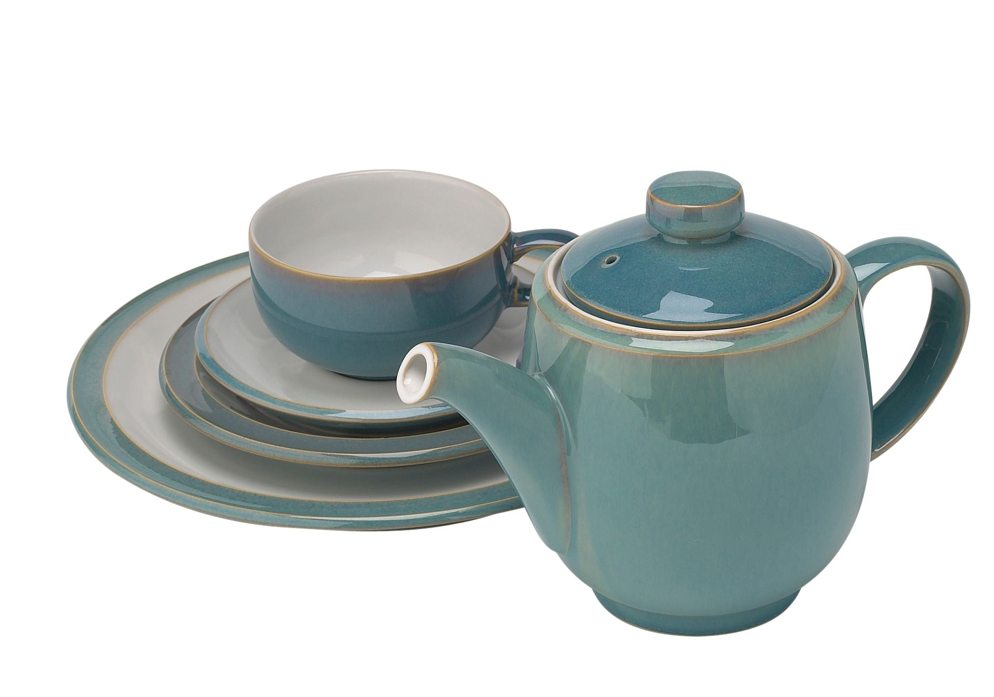 Azure stoneware dinnerware in Light Blue