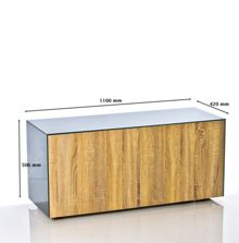 Frank Olsen High gloss grey/oak TV unit 1100 Range