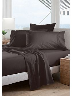 Classic percale charcoal double fitted sheet