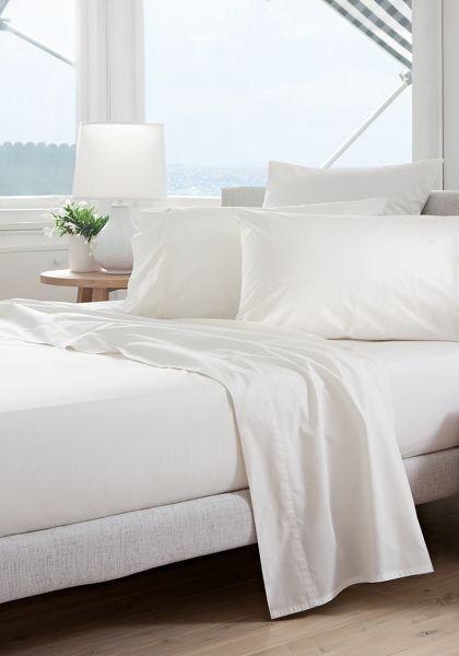 Sheridan Classic percale snow double fitted sheet