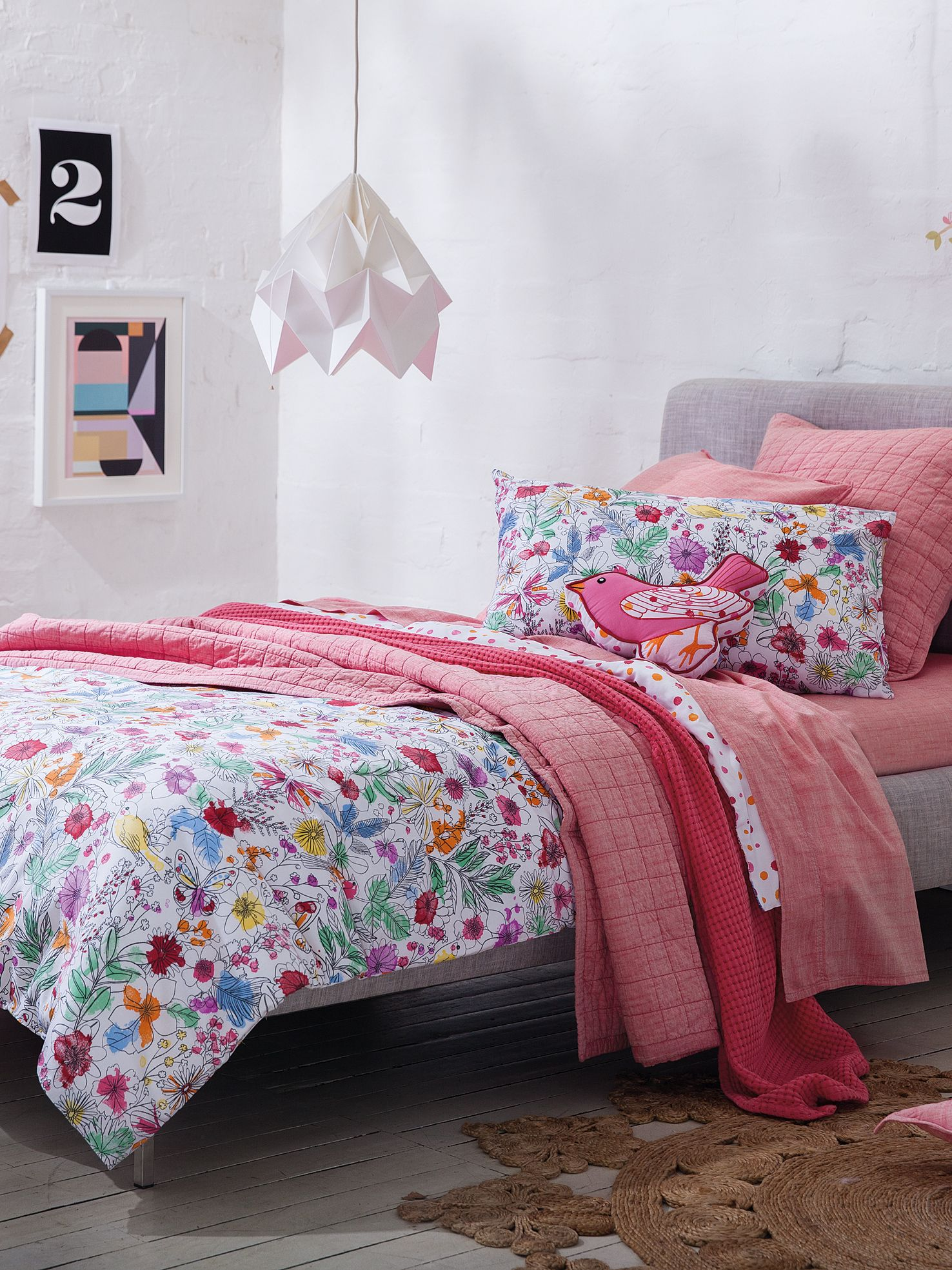 Delilah sorbet double duvet cover set sketched fl