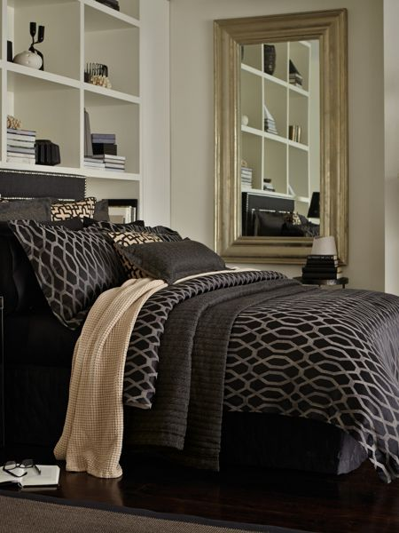 Sheridan Redmond ebony king duvet cover, herringbone