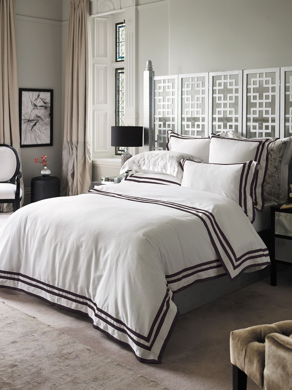 Holroyd ebony double fitted sheet timeless look