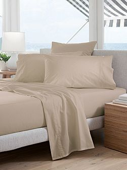 Classic Percale Peat single fitted sheet