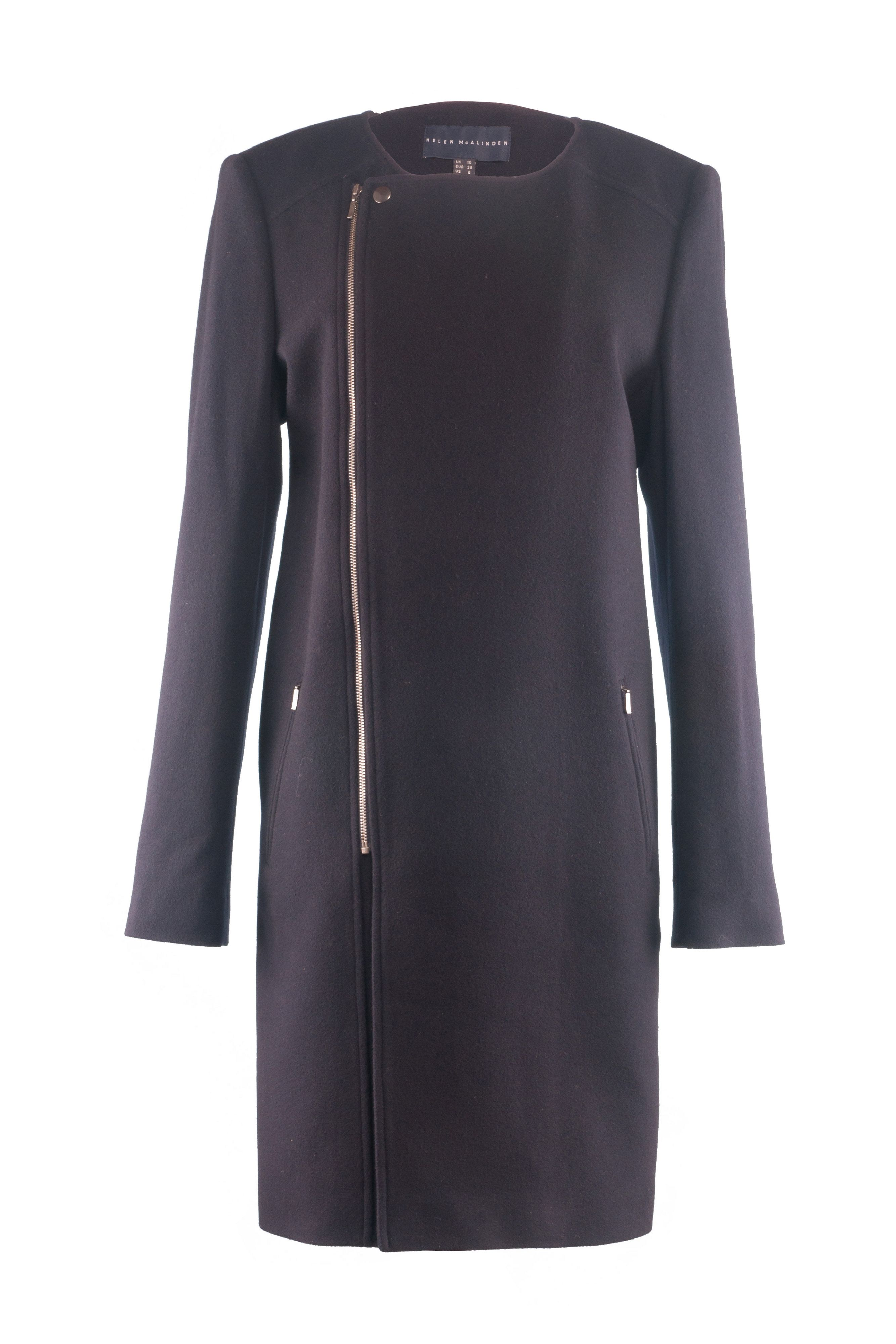 Collarless zip coat