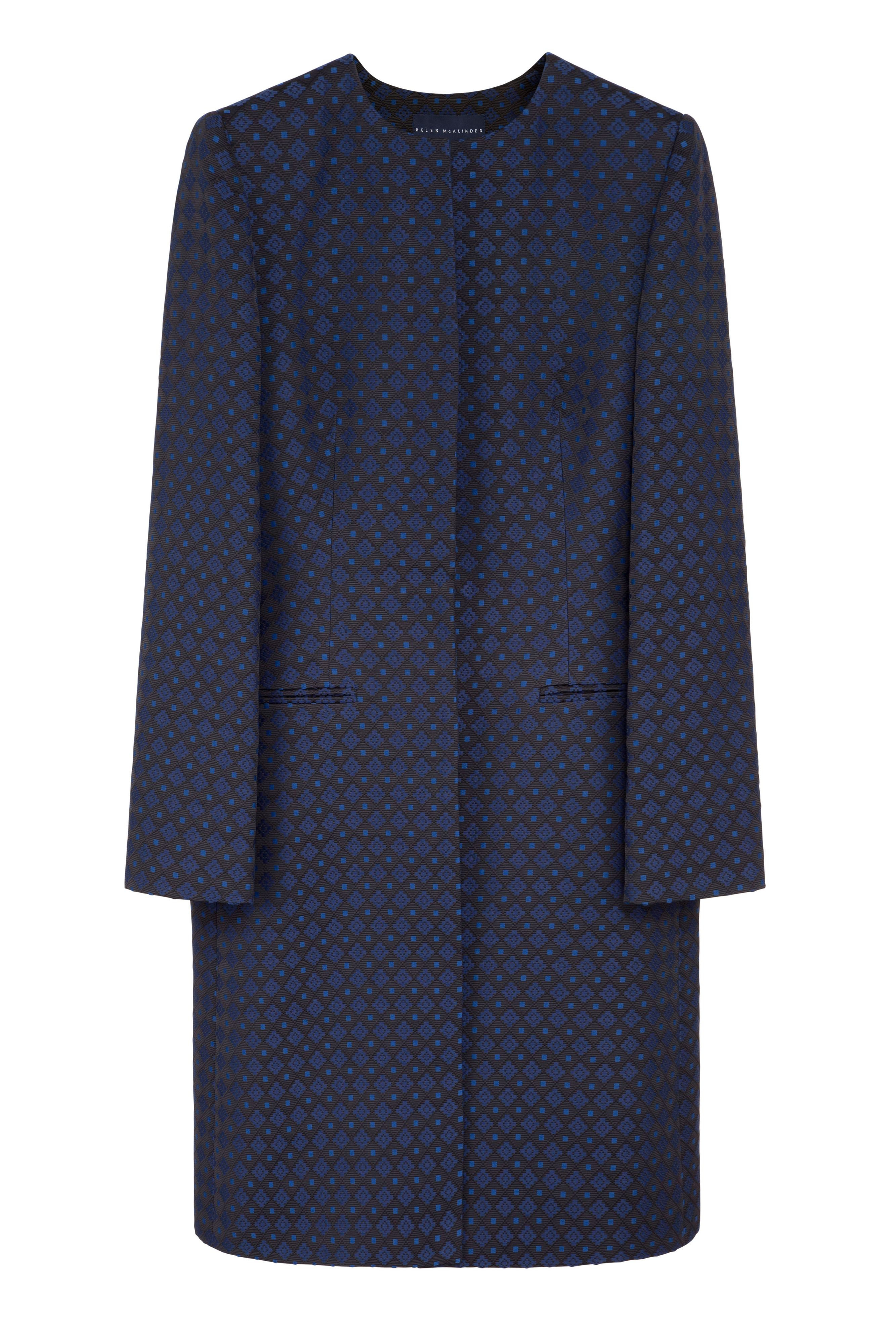 Collarless geometric helen coat