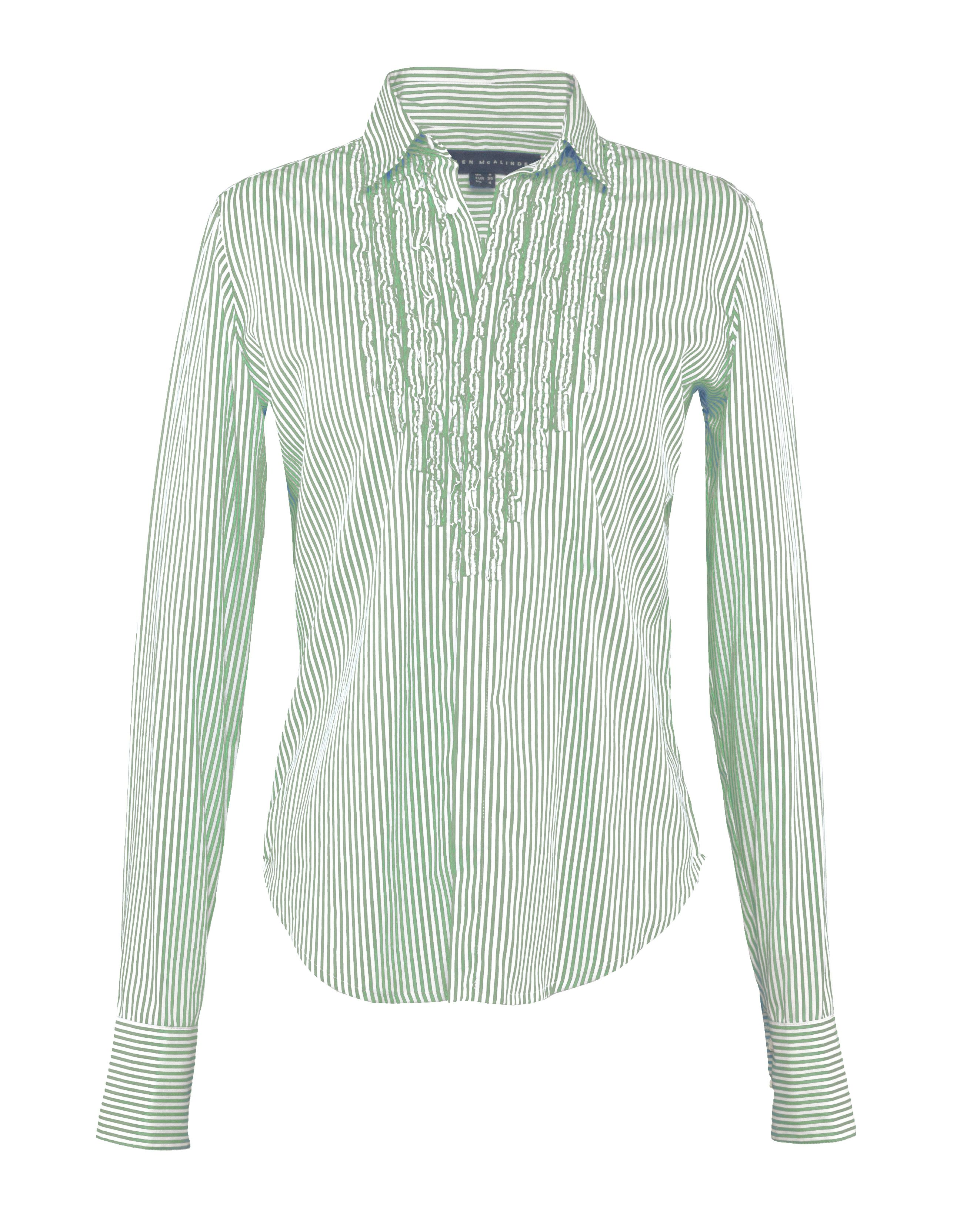 Green stripe frill shirt