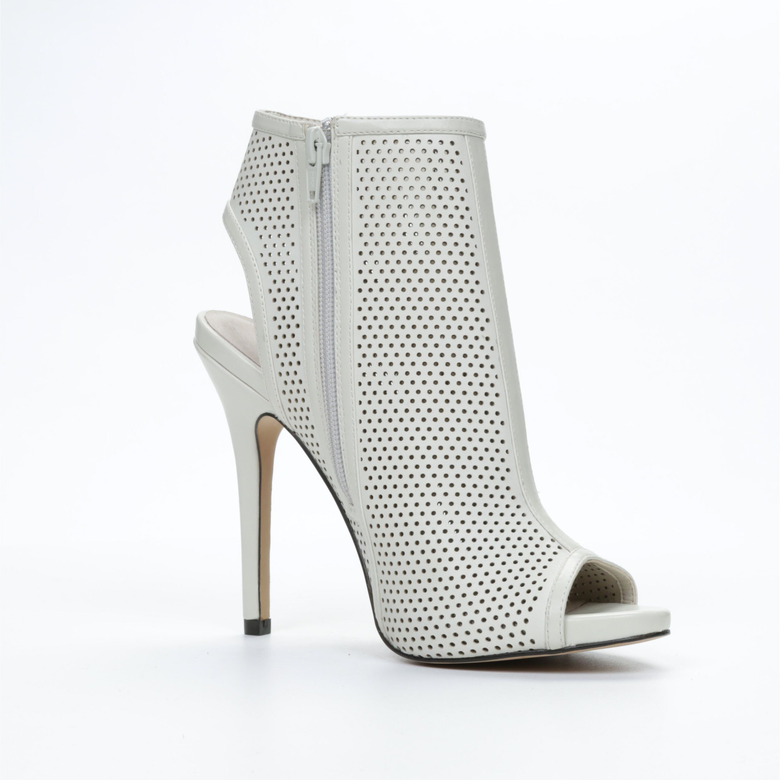 Miralenia laser cut peep toe court shoes