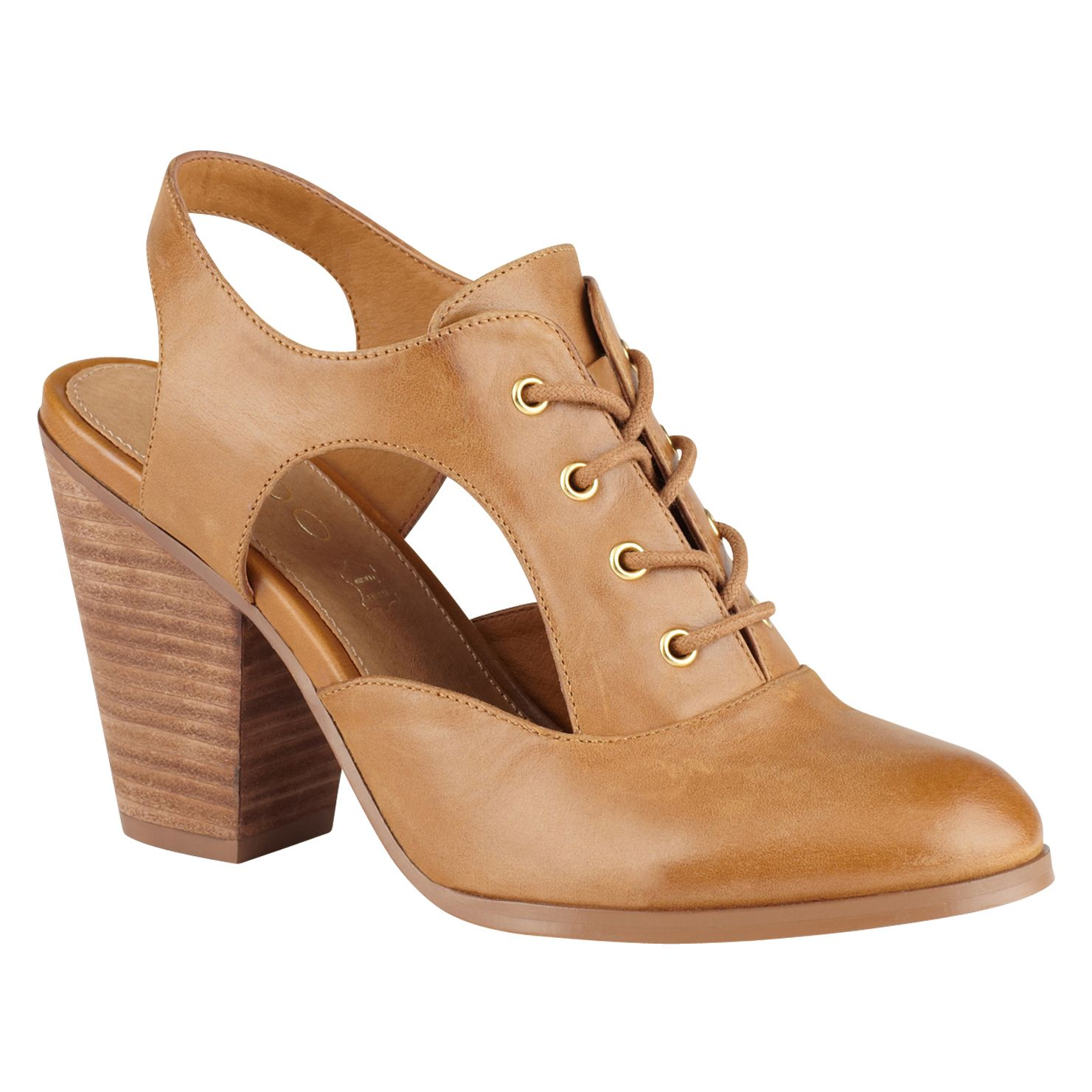 Thiraria lace up cut out block heel shoes