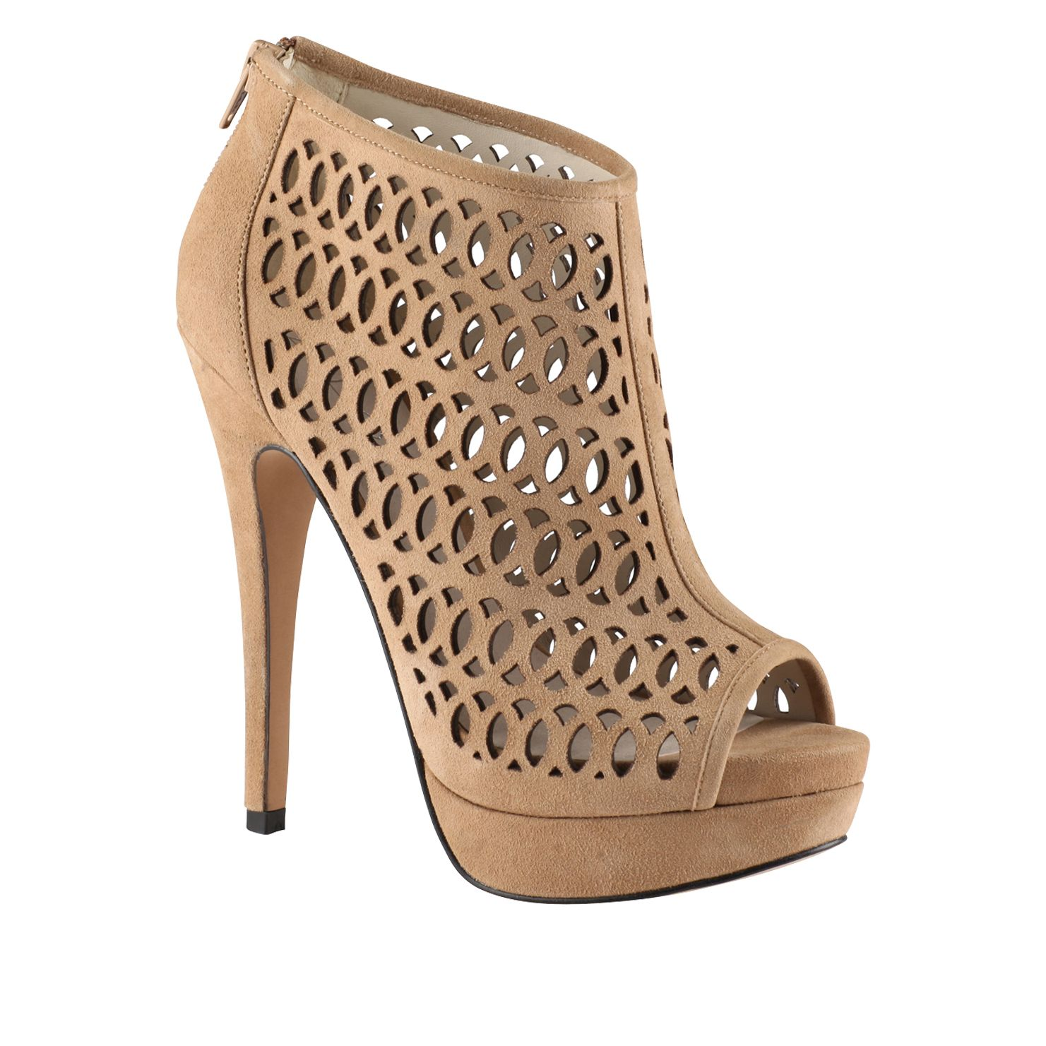 Fulginiti laser cut peep toe court shoes