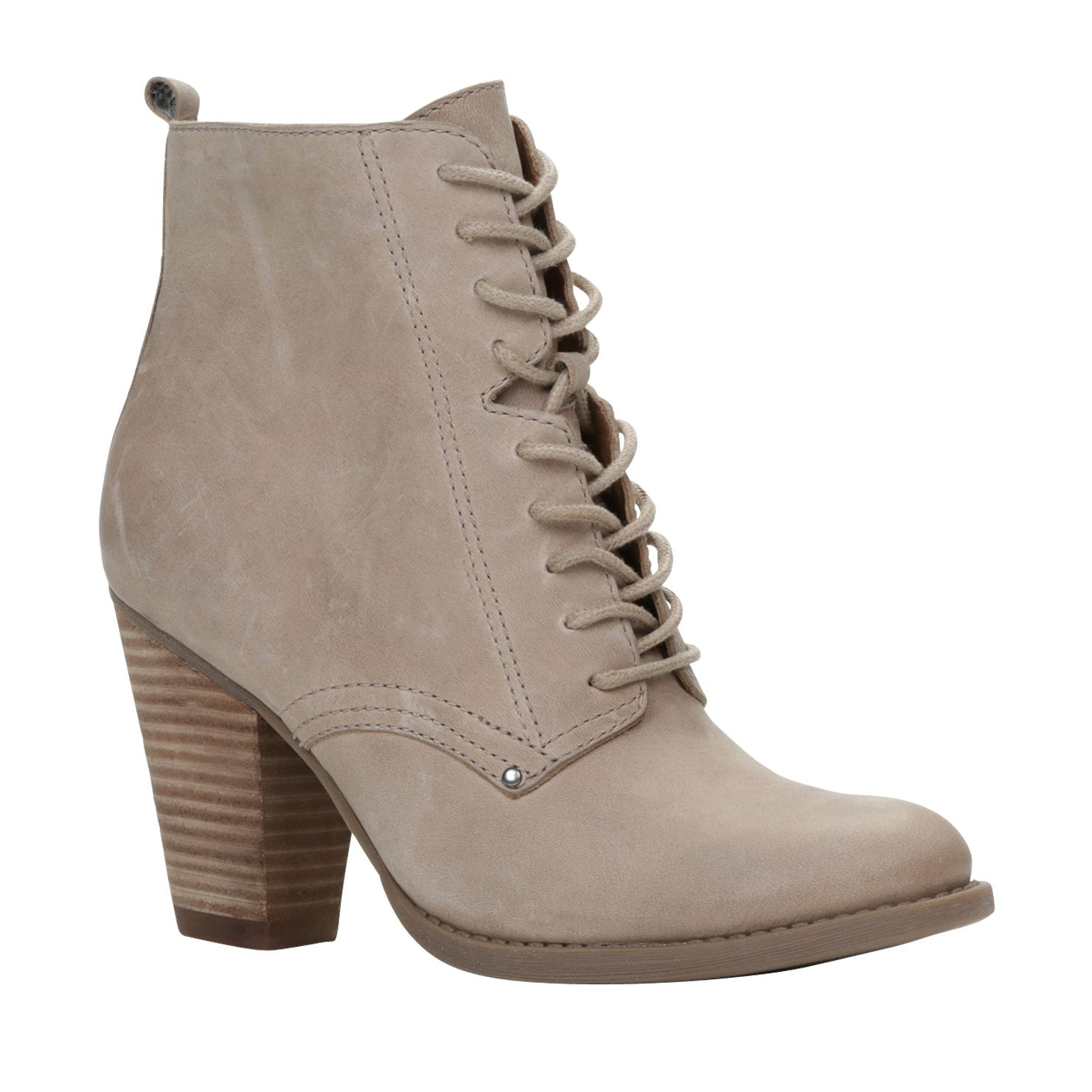 Minuk almond toe lace up block heel boots