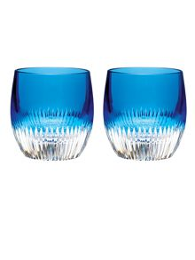 Waterford Mixology argon blue tumbler glasses, set of 2
