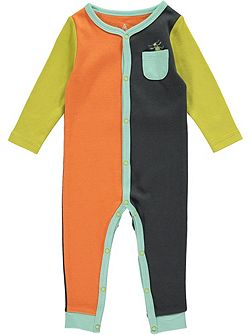 Boys Bug Colour Block Footless All-in-One