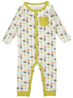 Boys Bug Print Footless All-in-One