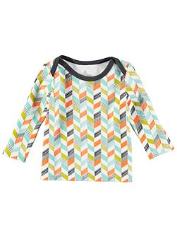 Boys Long Sleeve Grey Chevron Print T-Shirt