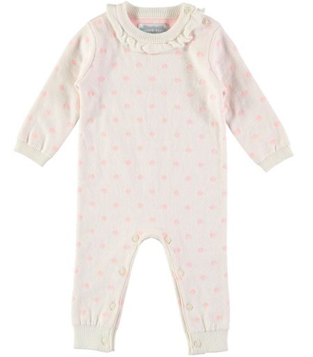 Rockin' Baby Girls Spotty Knitted Footless All-in-One