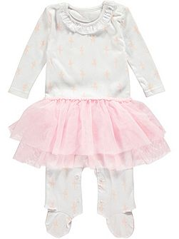 Girls Ballerina Skirt Cotton Onesie