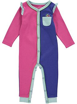 Girls Pink Colour Block Footless All-in-one