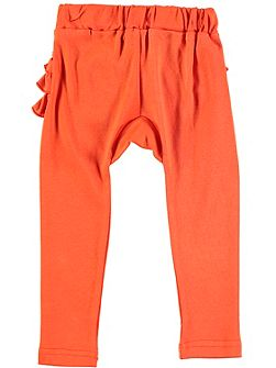 Girls Orange Frill Bottom Leggings