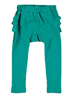 Girls Turquoise Frill Bottom Leggings