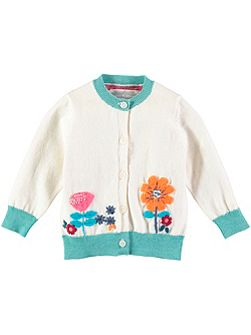 Girls Cotton Flower Cardigan