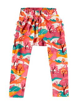 Girls Woodland Print Frill Leggings