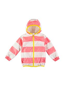 Girls Pink Stripe Rain Mac Coat