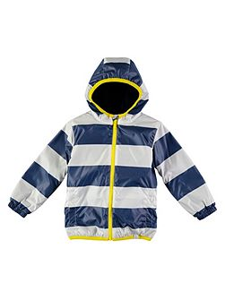 Blue Stripe Rain Mac