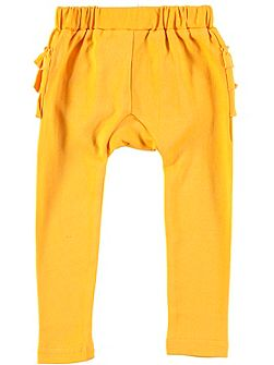Girls Yellow Frill Cotton Leggings