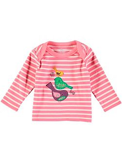 Girls Long Sleeve Embroidered Bird T-Shirt