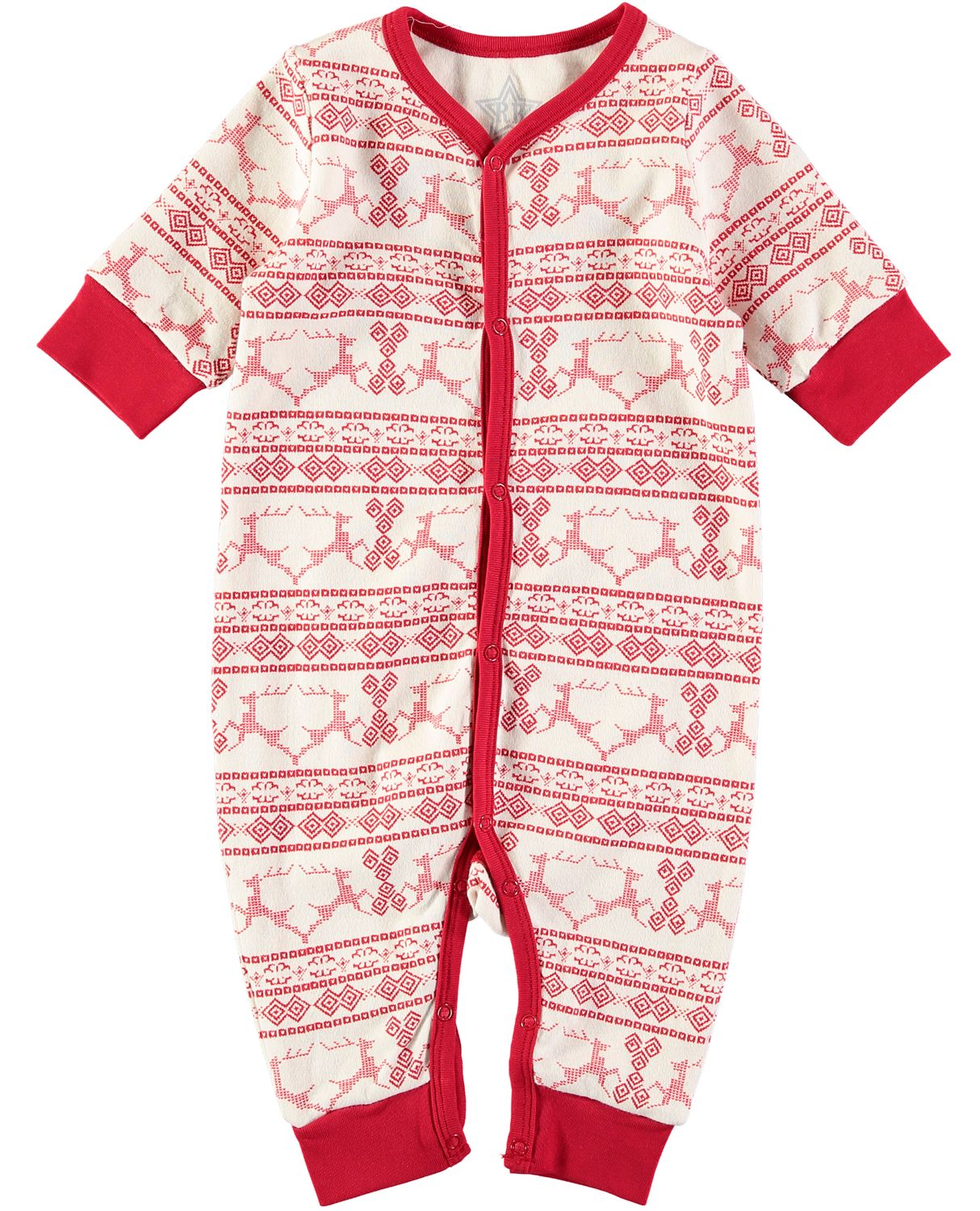 Rockin' Baby Rockin' Baby Christmas Fairisle Footless All-in-One, Cream