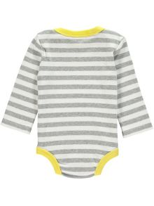 Rockin' Baby Boys Grey And White Stripe Babygrow