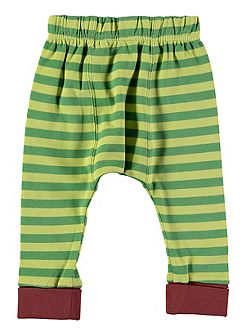 Boys Green Stripe Cotton Leggings
