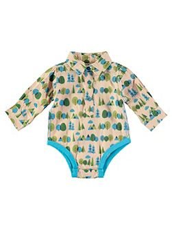 Boys Forest Print Woven Onesie
