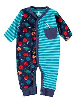 Boys Space And Stripe Footless All-in-One