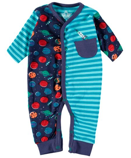 Rockin' Baby Boys Space And Stripe Footless All-in-One