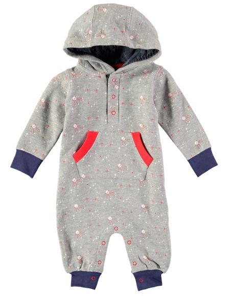 Rockin' Baby Boys Star Print Hooded Footless