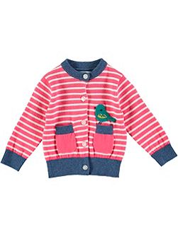 Girls Bird Stripe Cardigan