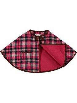 Girls Pink Checked Cape